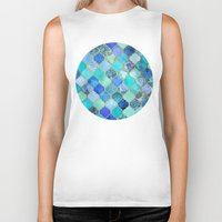 watercolor Biker Tanks featuring Cobalt Blue, Aqua & Gold Decorative Moroccan Tile Pattern by micklyn
