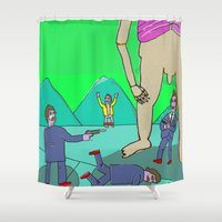 tom selleck Shower Curtains featuring Selleck Sabotage by Mary Naylor