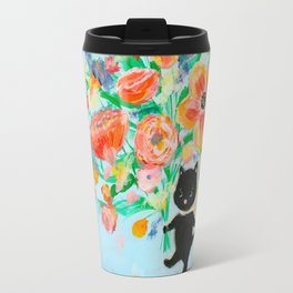 Black cat bouquet Travel Mug