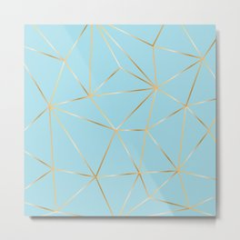 blue pastel and gold polygon Metal Print