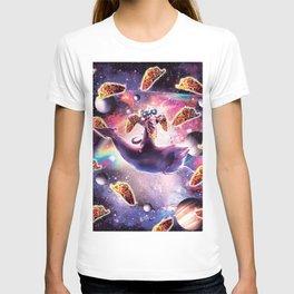 Thug Space Cat On Dolphin Unicorn - Taco T-shirt