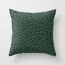 Cheetah Spots animal print minimal wild cat speckles and dots Forest Green Throw Pillow