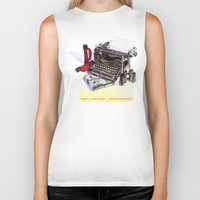 typewriter Biker Tanks featuring Typewriter by Nancy L. Hoffmann