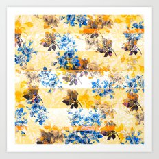 Flowery mosaic with stripes on light background Art Print