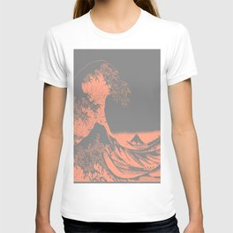 The Great Wave Peach & Gray T-shirt