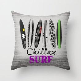 Chillax Surf Throw Pillow