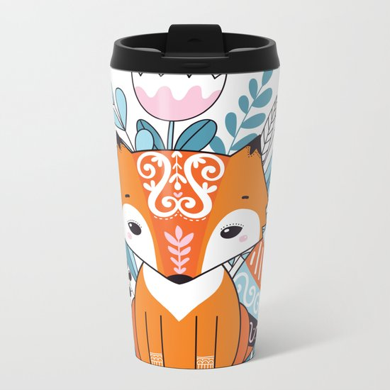 Cute fox Metal Travel Mug