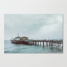 Cloudy Day at Santa Monica Pier California Canvas Print