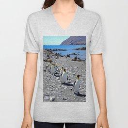King Penguins returning to the colony Unisex V-Neck