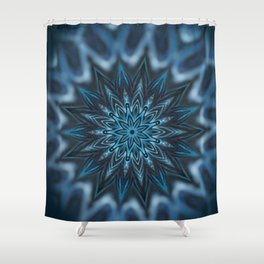 Blue Ice Swirl mandala Shower Curtain