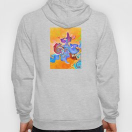 Conceptual abstract mixed swirl shaped red, blue, purple colors on an orange background  Hoody