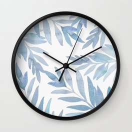 Muted Blue Palm Leaves Wall Clock