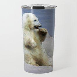 Cute Polar Bear Cub & Arctic Ice Travel Mug