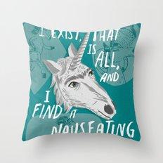 The Existentialist Unicorn Throw Pillow