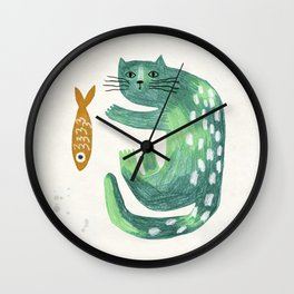 Green cat with fish Wall Clock