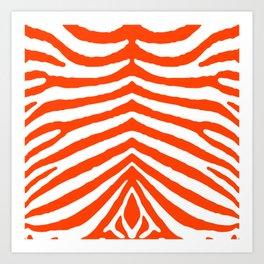 Fluorescent Orange Neon and White Zebra Stripe Art Print