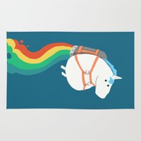 rocket Area & Throw Rugs featuring Fat Unicorn on Rainbow Jetpack by Picomodi