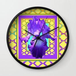 Large Purple-White Iris on Lilac Purple Yellow Pattern Art Wall Clock