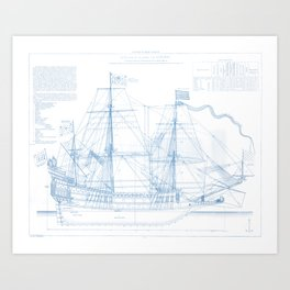 1636 French ship Couronne - Blueprint Style Art Print