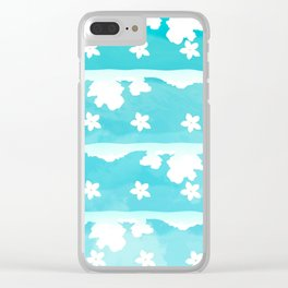 Blue white floral Clear iPhone Case