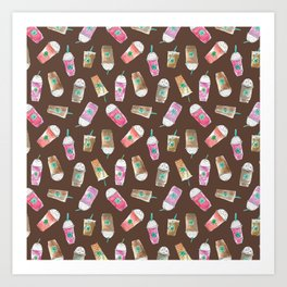 Coffee Crazy Toss in Expresso Brown Art Print