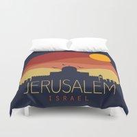 jewish Duvet Covers featuring israel  by mark ashkenazi