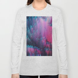 Bold Pink and Blue Glitches Long Sleeve T-shirt