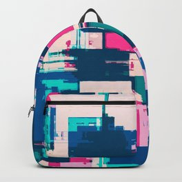 Teal, Blue and Pink Abstract Fusion Backpack
