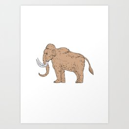 Woolly Mammoth Side Drawing Art Print