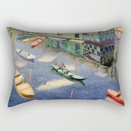 The Romantic Beauty of a Paris Summer on the River Seine landscape painting by Norman Lloyd Rectangular Pillow