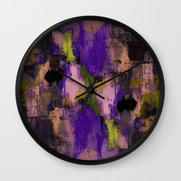 Abstract Nature - Textured, blue, yellow, pink, lilac, purple, black and orange painting Wall Clock