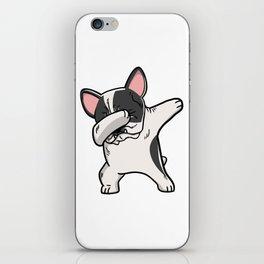 Funny Pied French Bulldog Dabbing iPhone Skin