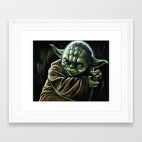 jedi Framed Art Prints featuring Jedi Master by Pinked n Inked