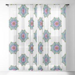 Colourful Botanical Mandala Sheer Curtain