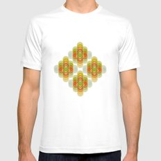 60's Pattern White MEDIUM Mens Fitted Tee