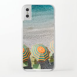 Umbrellas on the beach Clear iPhone Case