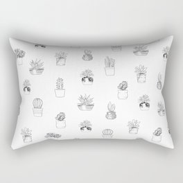 Potted Cactus Pattern Black and White Rectangular Pillow