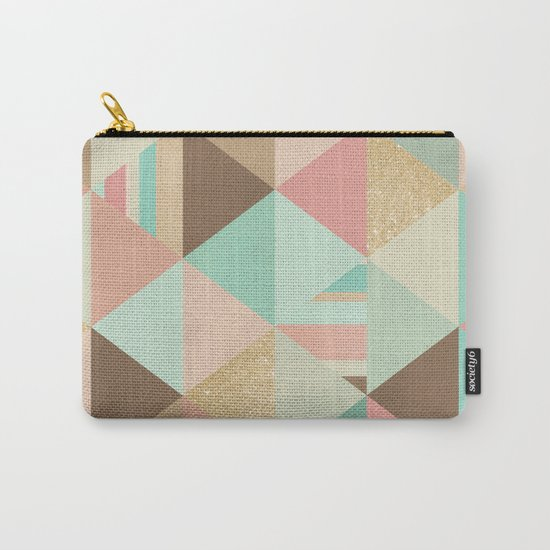 Peach, Mint and Gold Triangles Carry-All Pouch