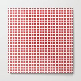 Grid Pattern 312 Red Metal Print