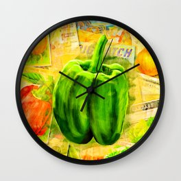 Green Bell Pepper - Vintage Collage Wall Clock