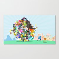 katamari Canvas Prints featuring Adventure Time - Land of Ooo Katamari by Sin nombre