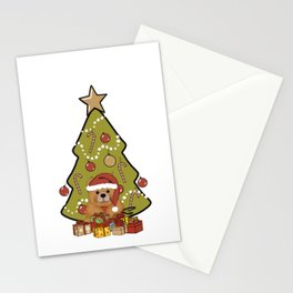 Christmas Brown Teddy Bear with Christmas Tree Stationery Cards