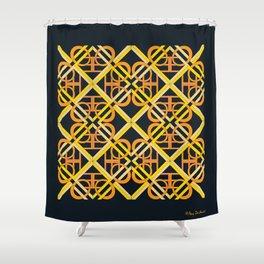 Interlaced Love Mandala Tiled - Gold Black Shower Curtain