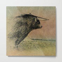 Alone bull Metal Print