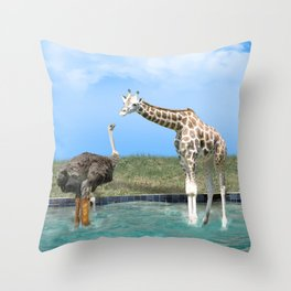 The Ostrich with Galoshes Throw Pillow
