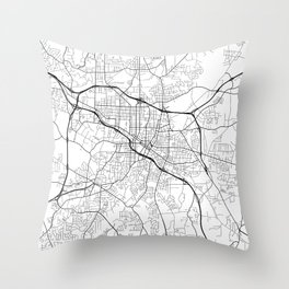 Durham Map, USA - Black and White Throw Pillow