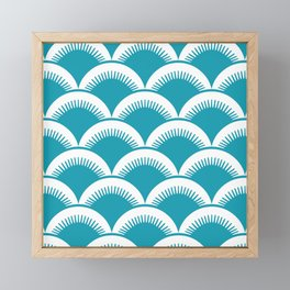 Japanese Fan Pattern Turquoise Framed Mini Art Print