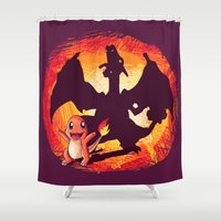 charizard Shower Curtains featuring Charmander's dreams by EnaGrapher