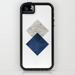 Marble blue navy diamond iPhone Case