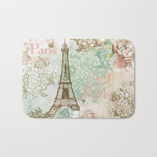 I love Paris- Vintage Shabby Chic - Eiffeltower France Flowers Floral Bath Mat
